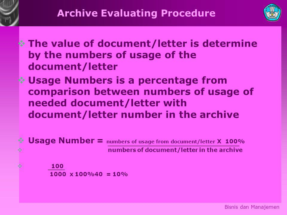 Archive Evaluating Procedure