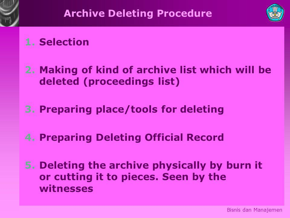 Archive Deleting Procedure