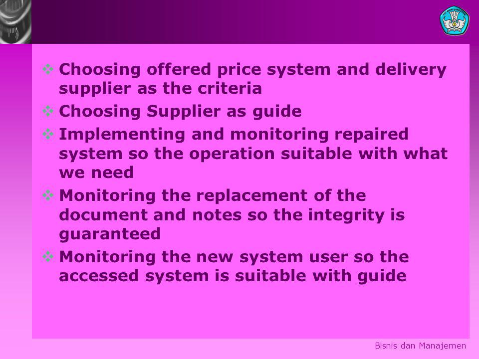 Choosing offered price system and delivery supplier as the criteria