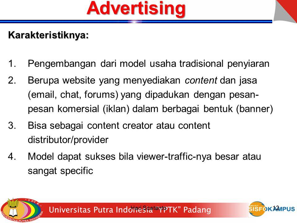 Advertising Karakteristiknya: