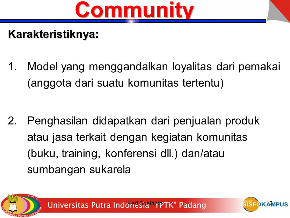 Community Karakteristiknya: