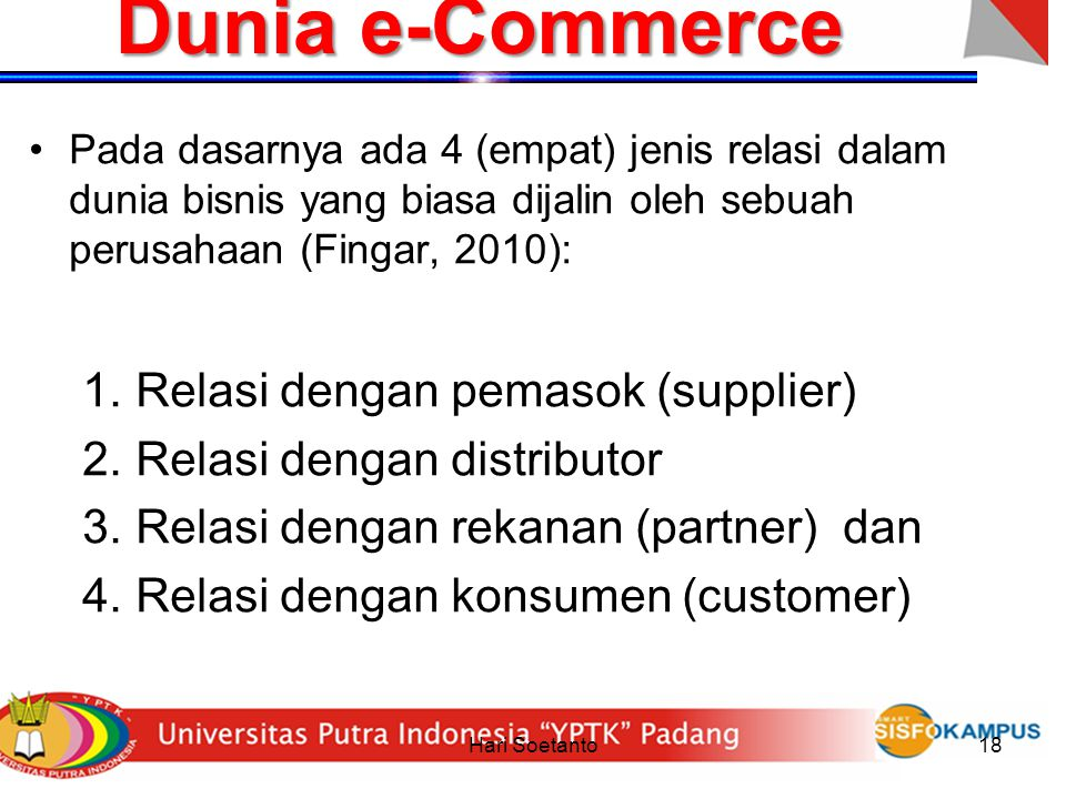Dunia e-Commerce Relasi dengan pemasok (supplier)