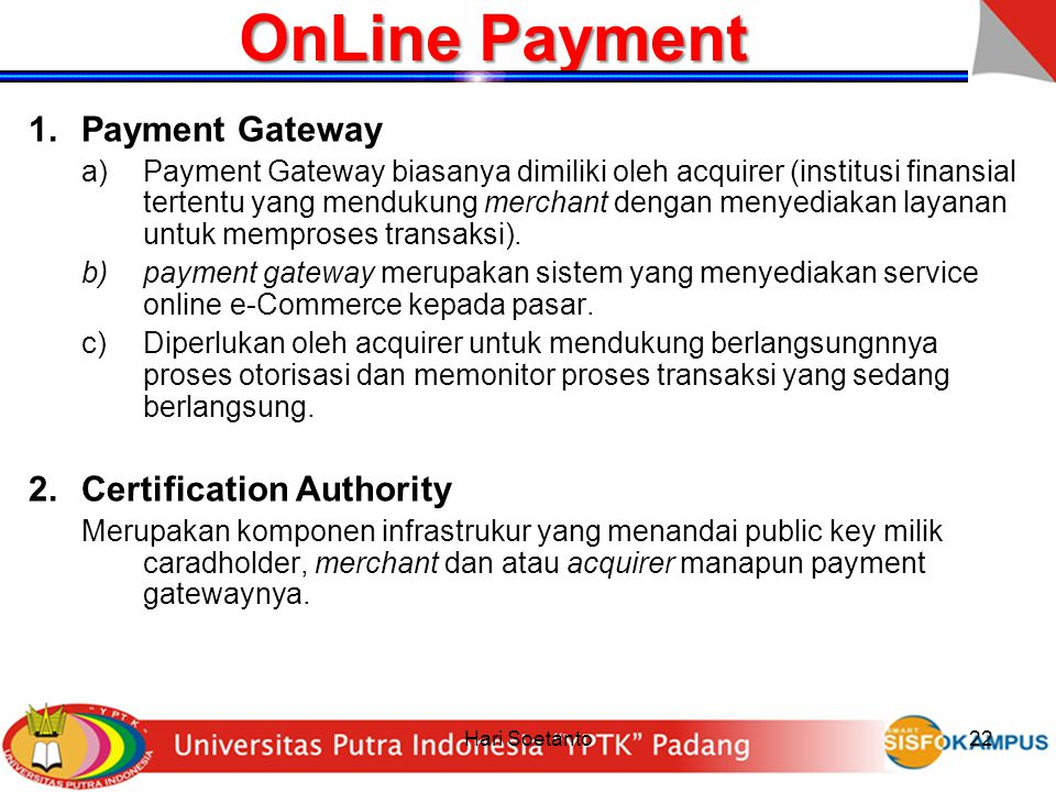 OnLine Payment Payment Gateway Certification Authority