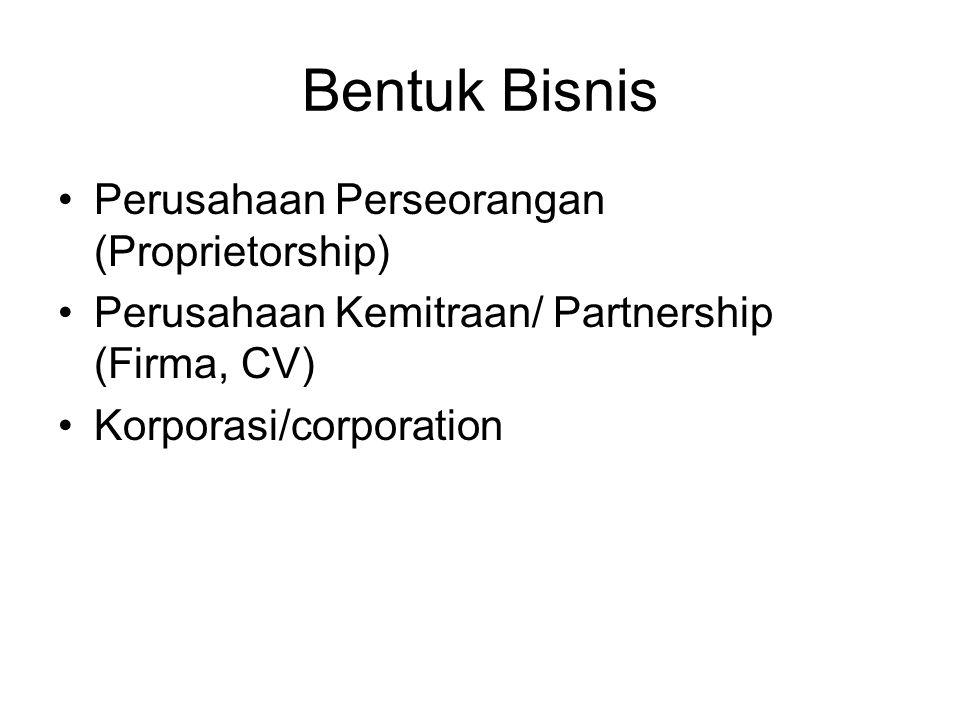 Bentuk Bisnis Perusahaan Perseorangan (Proprietorship)