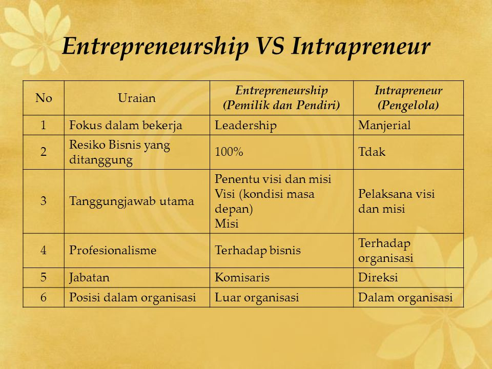 Entrepreneurship VS Intrapreneur