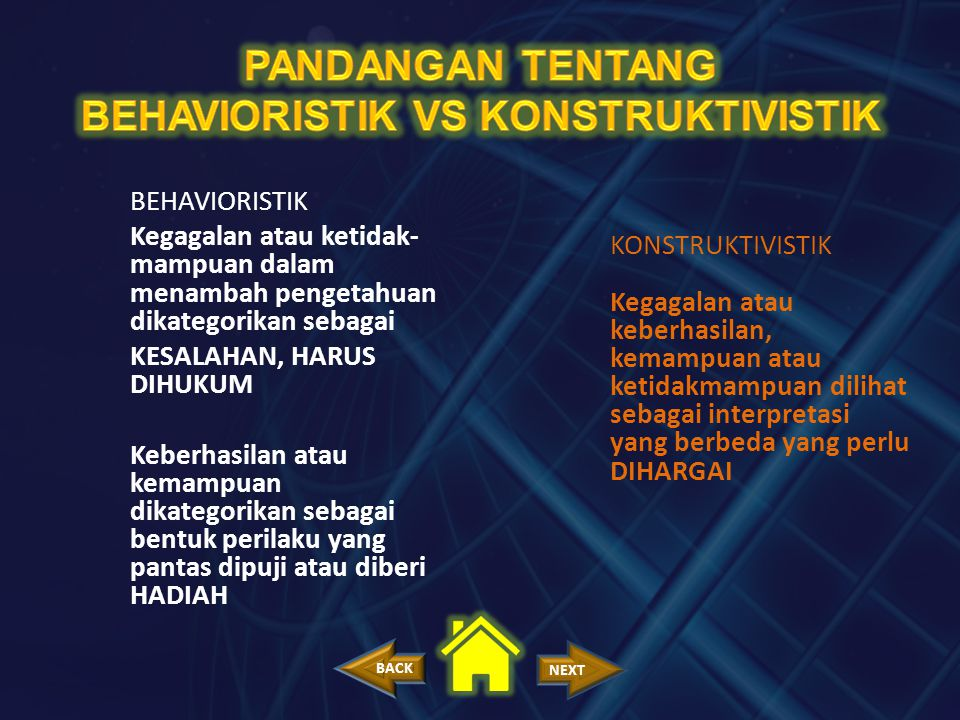 PANDANGAN TENTANG BEHAVIORISTIK VS KONSTRUKTIVISTIK