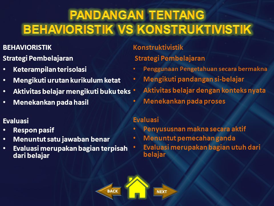 BEHAVIORISTIK VS KONSTRUKTIVISTIK