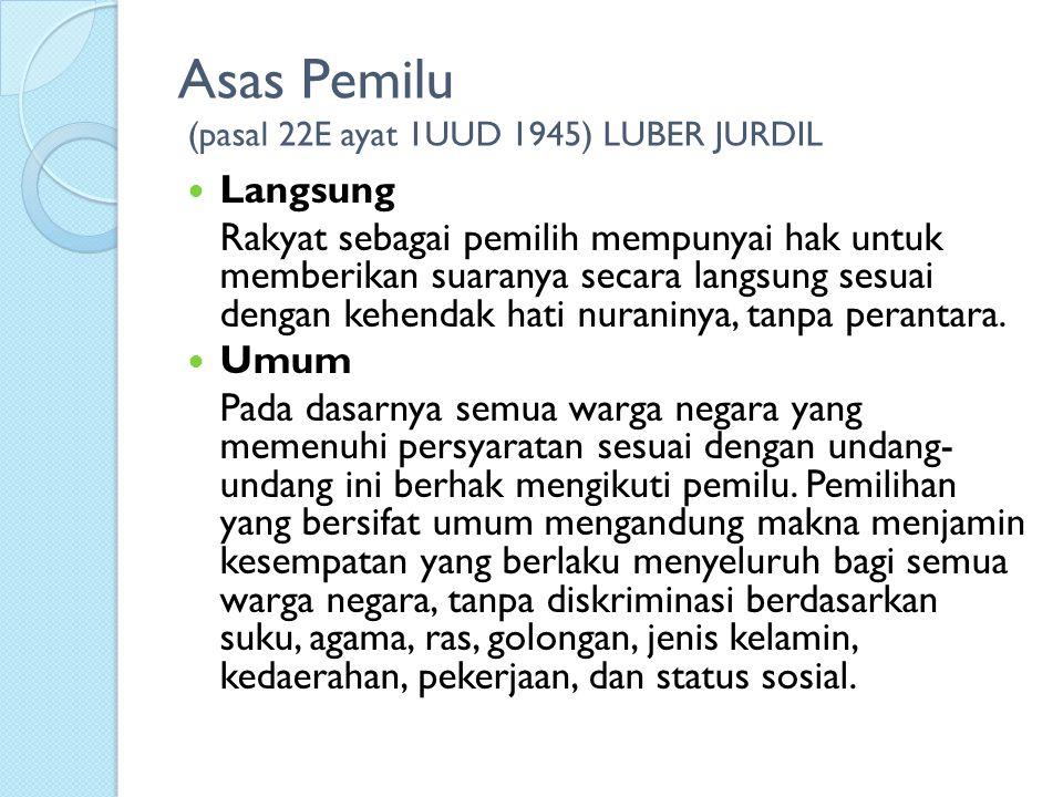 Asas Pemilu (pasal 22E ayat 1UUD 1945) LUBER JURDIL