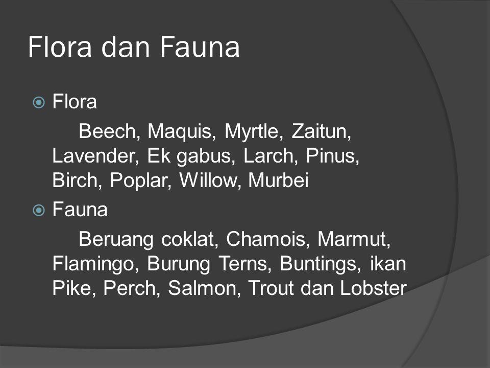 Flora dan Fauna Flora. Beech, Maquis, Myrtle, Zaitun, Lavender, Ek gabus, Larch, Pinus, Birch, Poplar, Willow, Murbei.