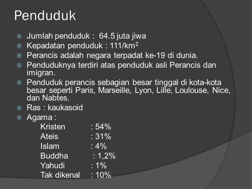 Penduduk Jumlah penduduk : 64.5 juta jiwa Kepadatan penduduk : 111/km2