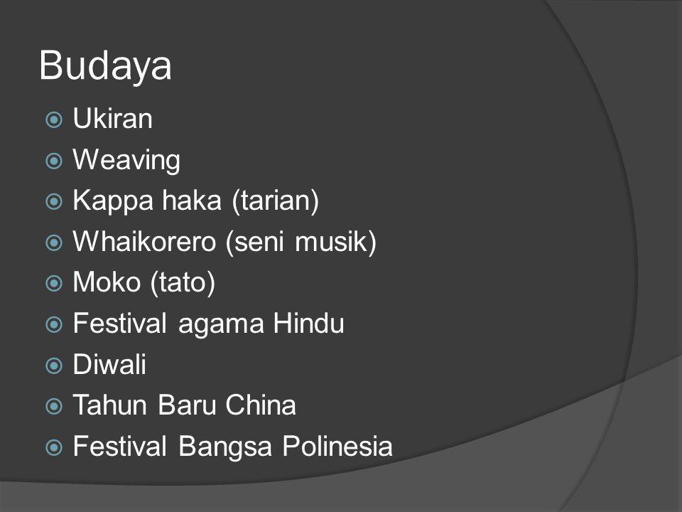 Budaya Ukiran Weaving Kappa haka (tarian) Whaikorero (seni musik)