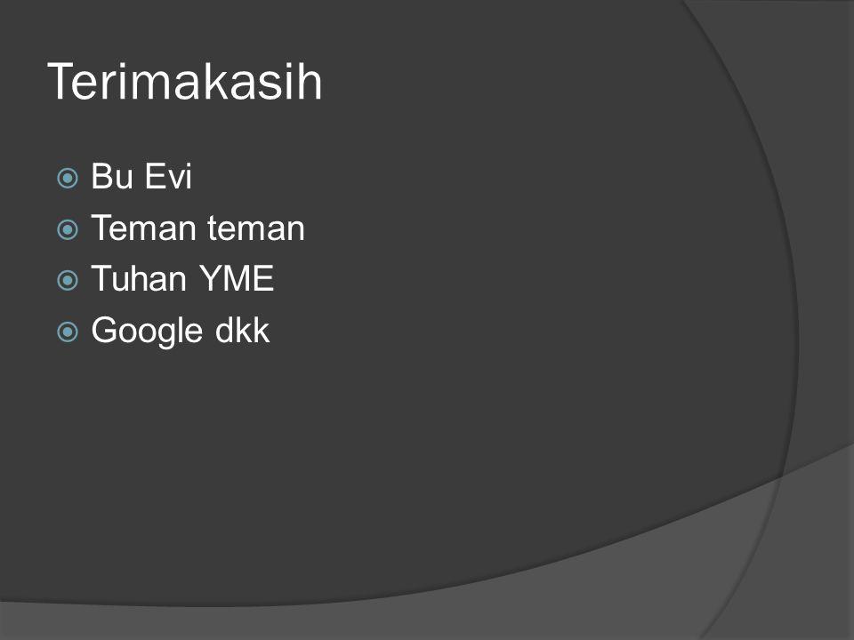 Terimakasih Bu Evi Teman teman Tuhan YME Google dkk