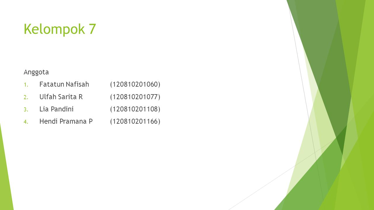 Kelompok 7 Anggota Fatatun Nafisah (120810201060)