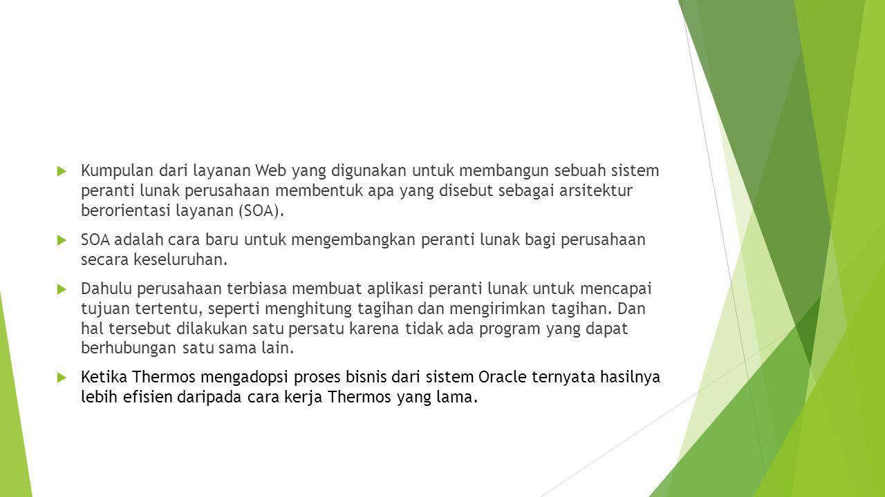 Kumpulan dari layanan Web yang digunakan untuk membangun sebuah sistem peranti lunak perusahaan membentuk apa yang disebut sebagai arsitektur berorientasi layanan (SOA).