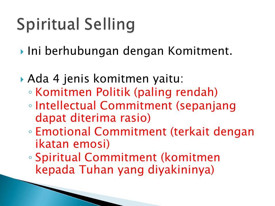 Spiritual Selling Ini berhubungan dengan Komitment.