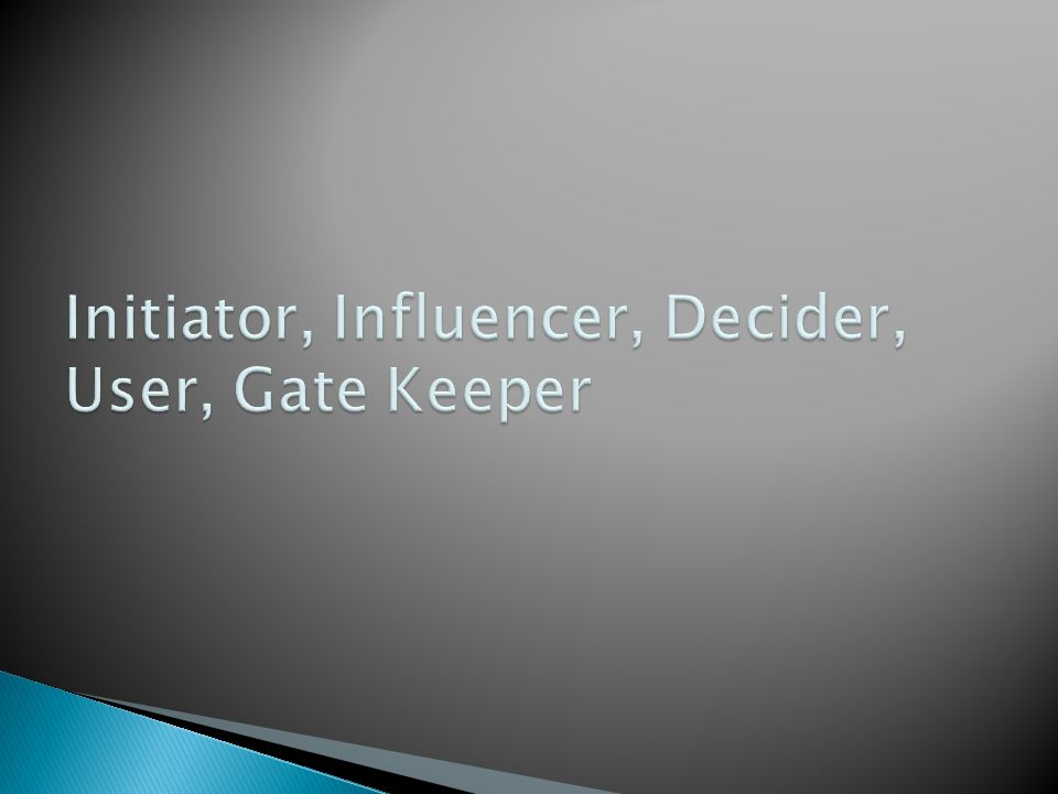 Initiator, Influencer, Decider, User, Gate Keeper