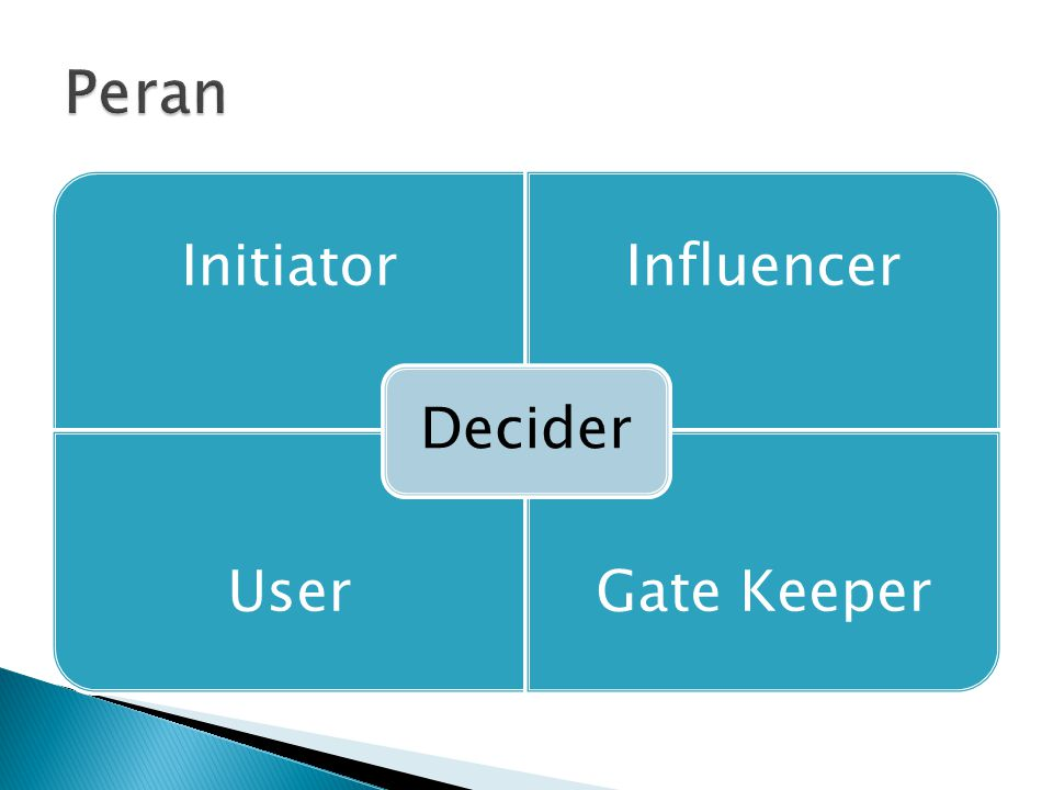 Peran Decider Initiator Influencer User Gate Keeper