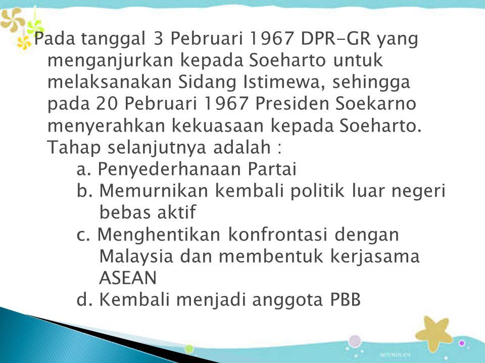 Pada tanggal 3 Pebruari 1967 DPR-GR yang menganjurkan kepada Soeharto untuk melaksanakan Sidang Istimewa, sehingga pada 20 Pebruari 1967 Presiden Soekarno menyerahkan kekuasaan kepada Soeharto.