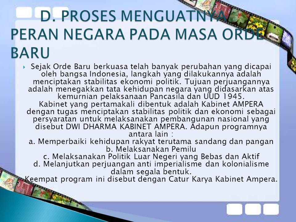 D. PROSES MENGUATNYA PERAN NEGARA PADA MASA ORDE BARU