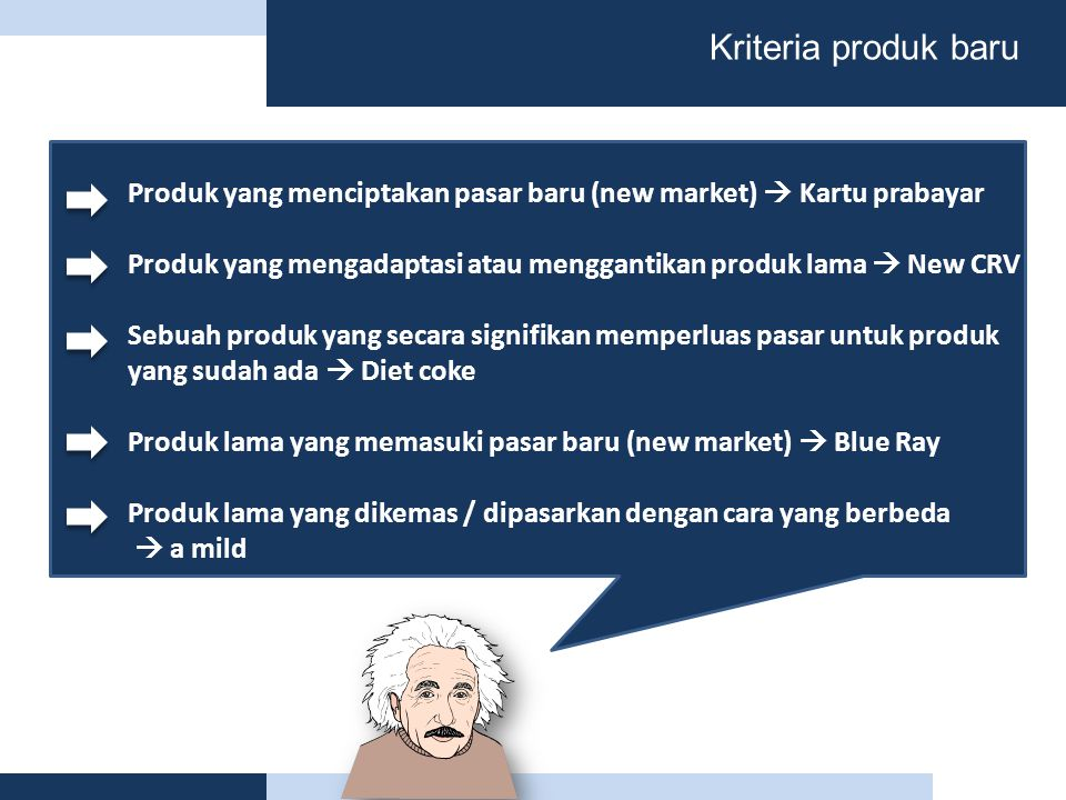 Kriteria produk baru Produk yang menciptakan pasar baru (new market)  Kartu prabayar.