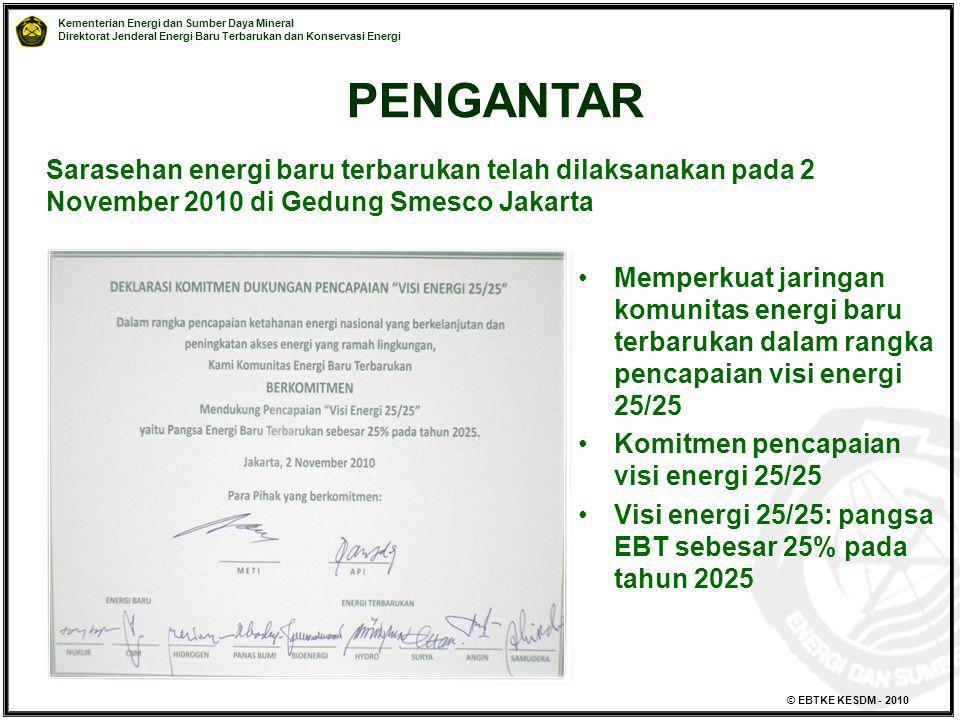 PENGANTAR Sarasehan energi baru terbarukan telah dilaksanakan pada 2 November 2010 di Gedung Smesco Jakarta.