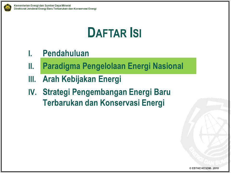 Daftar Isi Pendahuluan Paradigma Pengelolaan Energi Nasional