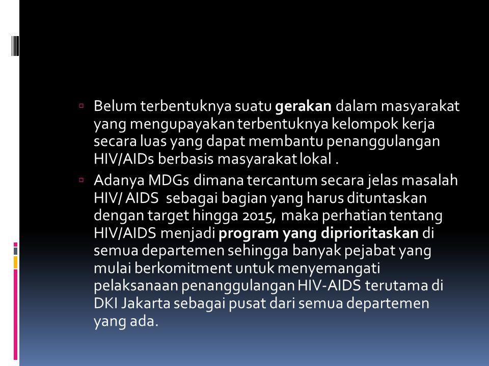 Belum terbentuknya suatu gerakan dalam masyarakat yang mengupayakan terbentuknya kelompok kerja secara luas yang dapat membantu penanggulangan HIV/AIDs berbasis masyarakat lokal .