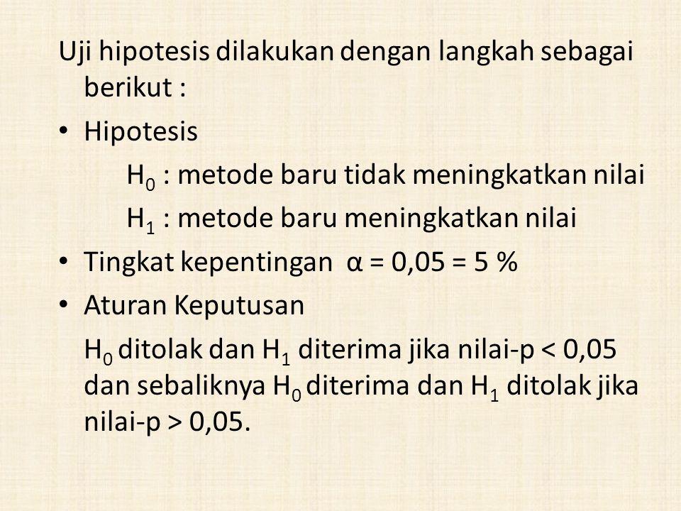 Uji hipotesis dilakukan dengan langkah sebagai berikut :