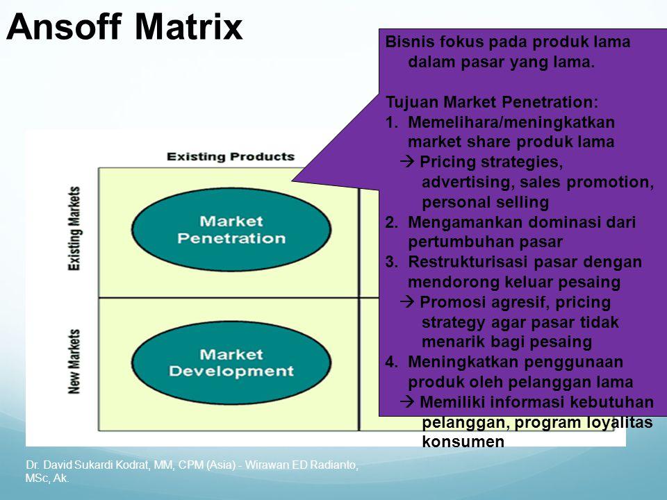 Ansoff Matrix Bisnis fokus pada produk lama dalam pasar yang lama.