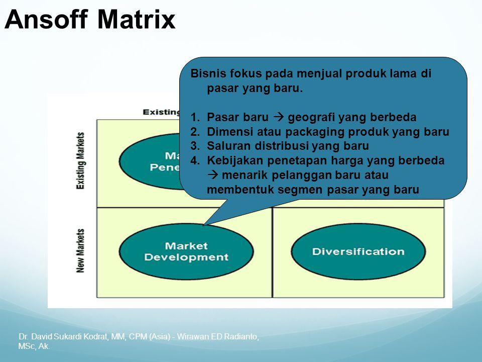 Ansoff Matrix Bisnis fokus pada menjual produk lama di pasar yang baru. Pasar baru  geografi yang berbeda.