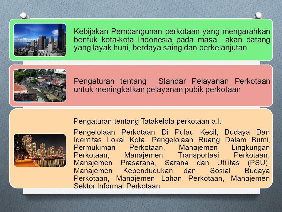 Kebijakan Pembangunan perkotaan yang mengarahkan bentuk kota-kota Indonesia pada masa akan datang yang layak huni, berdaya saing dan berkelanjutan