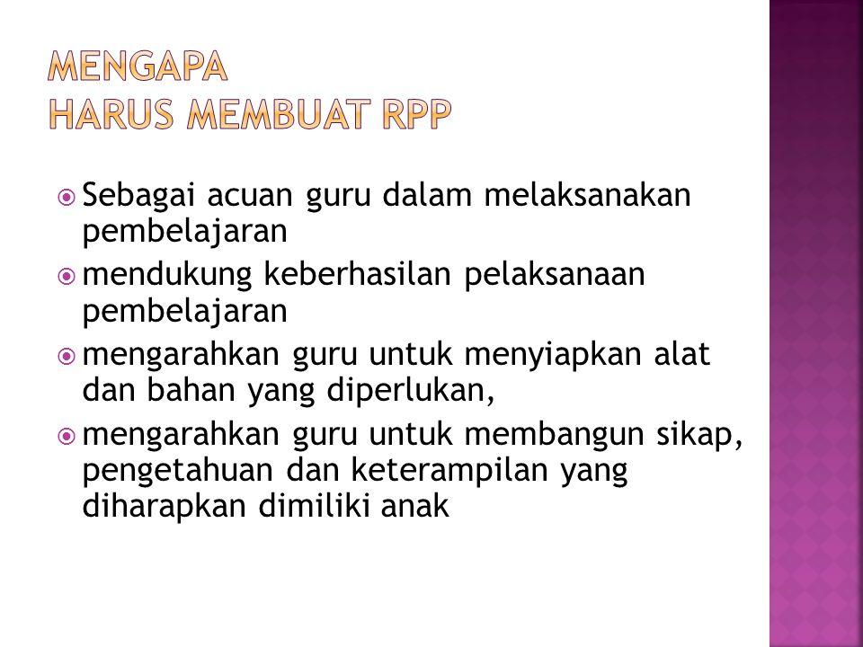 MENGAPA HARUS MEMBUAT RPP