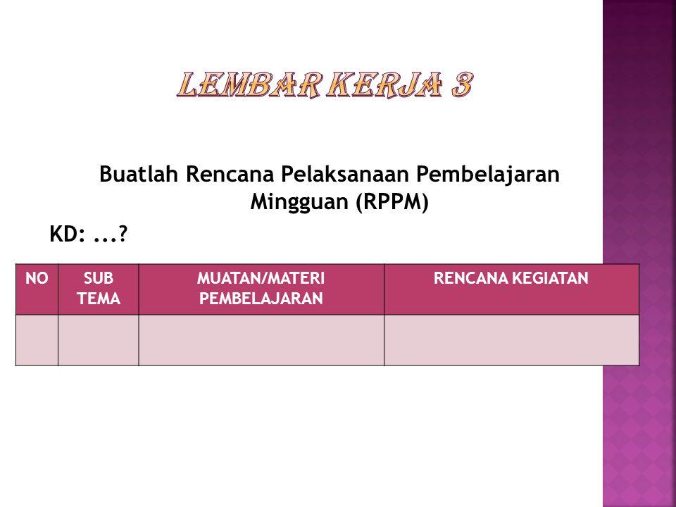 LEMBAR KERJA 3 Buatlah Rencana Pelaksanaan Pembelajaran Mingguan (RPPM) KD: ... NO. SUB TEMA. MUATAN/MATERI PEMBELAJARAN.