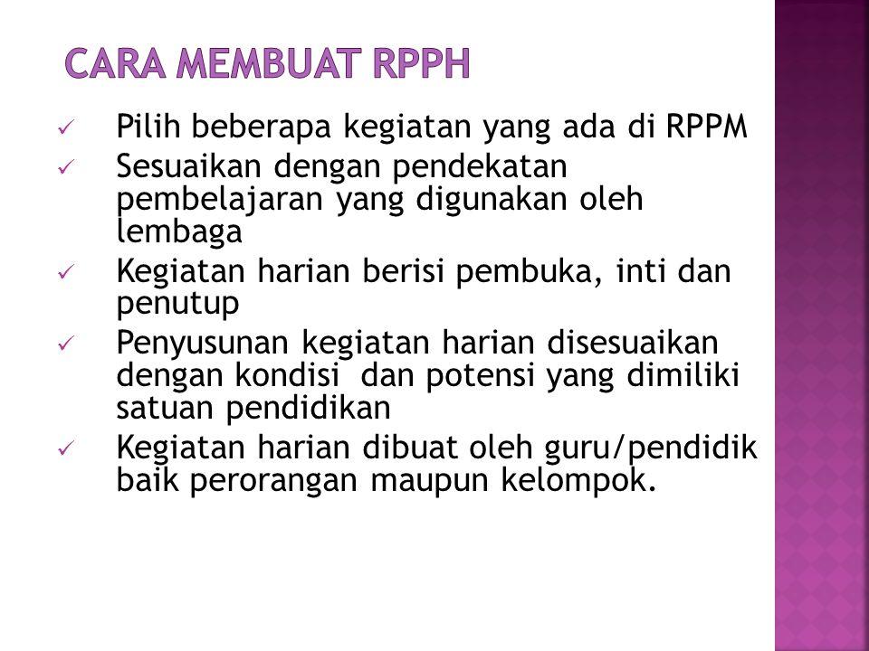 CARA MEMBUAT RPPH Pilih beberapa kegiatan yang ada di RPPM