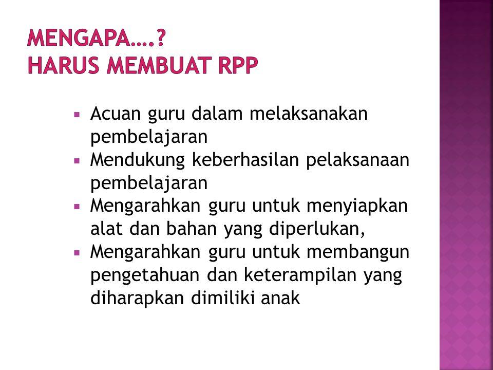 MENGAPA…. HARUS MEMBUAT RPP