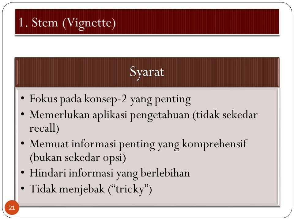 Syarat 1. Stem (Vignette) Fokus pada konsep-2 yang penting