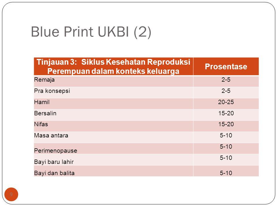 Blue Print UKBI (2) Tinjauan 3: Siklus Kesehatan Reproduksi Perempuan dalam konteks keluarga. Prosentase.