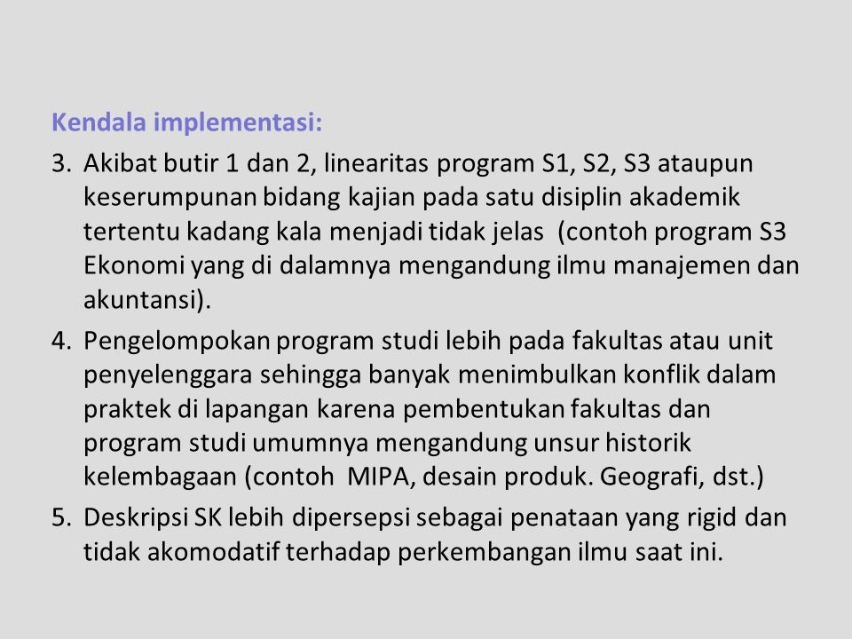Kendala implementasi: