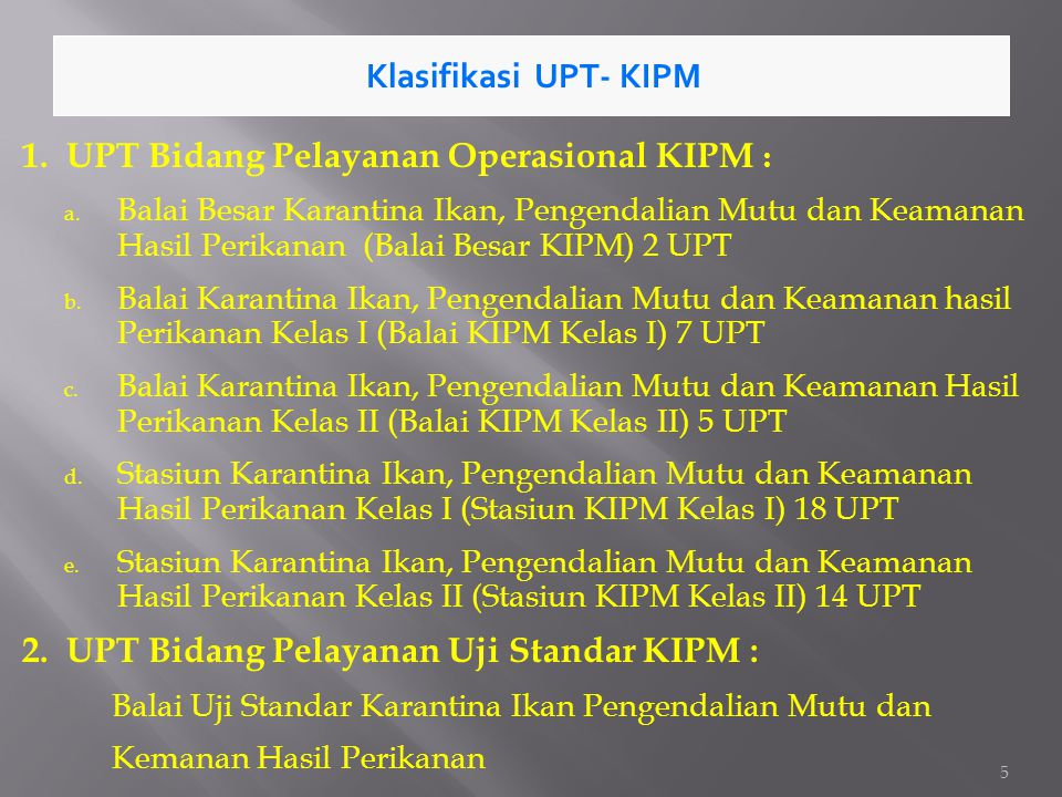 1. UPT Bidang Pelayanan Operasional KIPM :