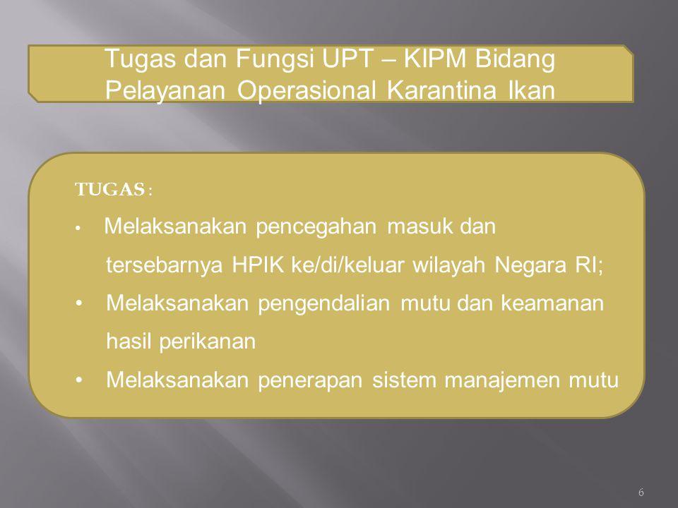 Tugas dan Fungsi UPT – KIPM Bidang Pelayanan Operasional Karantina Ikan