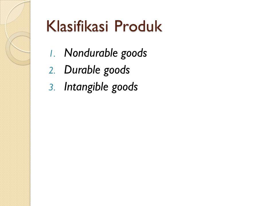 Klasifikasi Produk Nondurable goods Durable goods Intangible goods