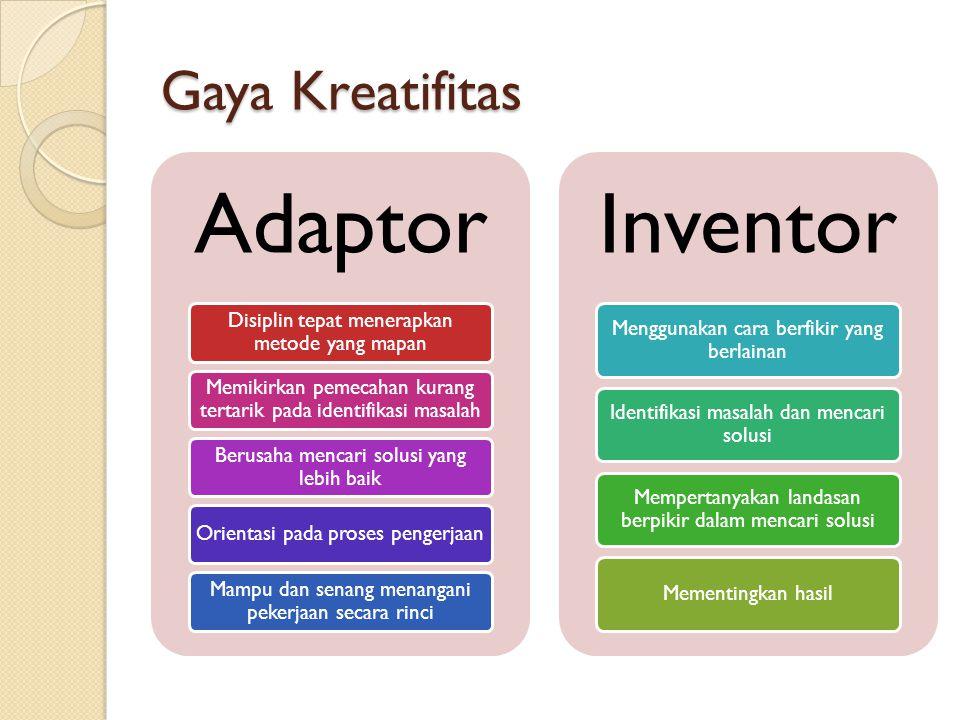 Gaya Kreatifitas Adaptor Disiplin tepat menerapkan metode yang mapan