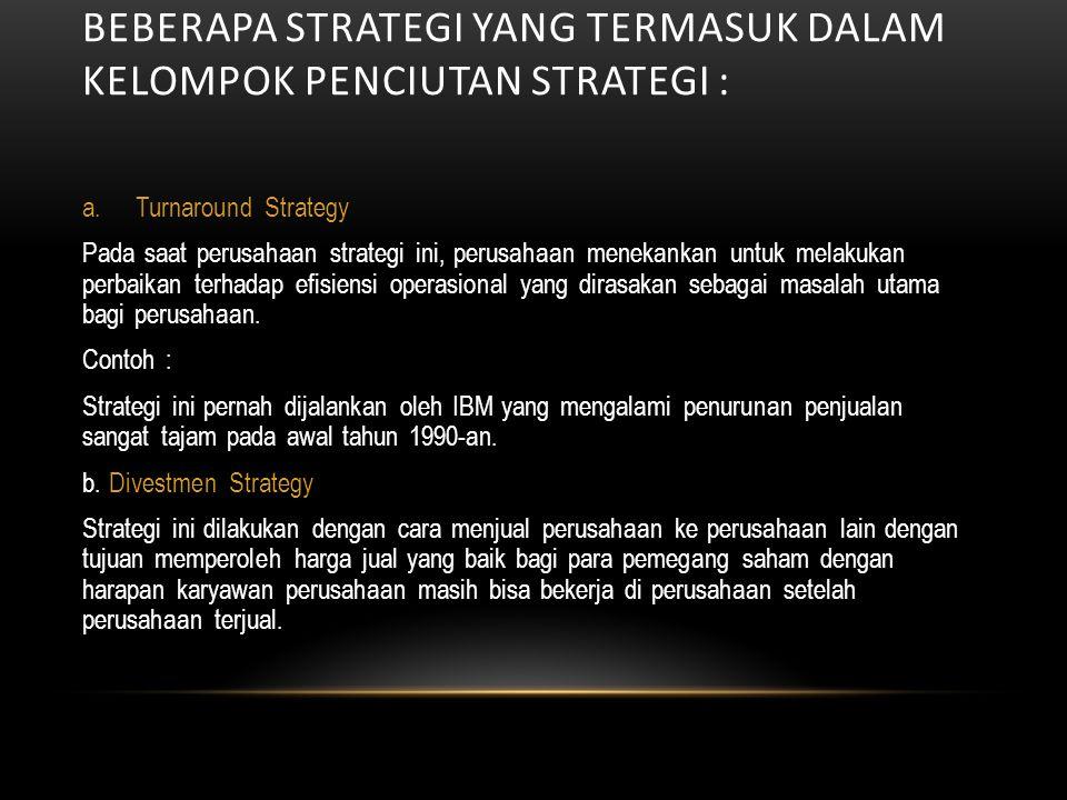 Beberapa strategi yang termasuk dalam kelompok penciutan strategi :