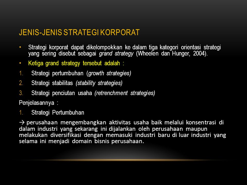 Jenis-jenis Strategi Korporat
