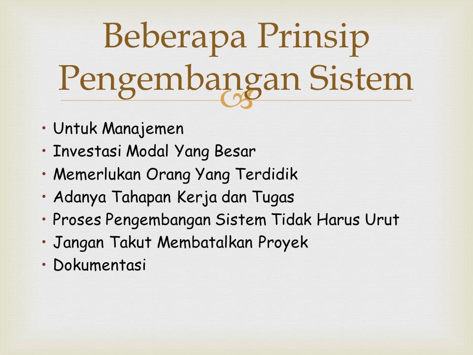 Beberapa Prinsip Pengembangan Sistem