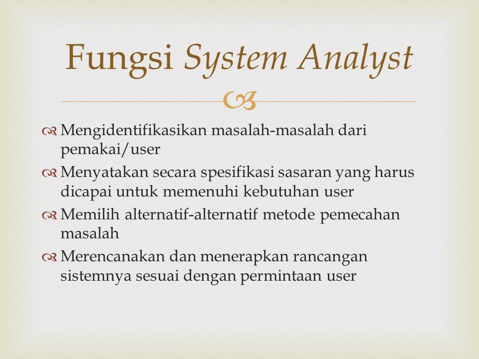 Fungsi System Analyst Mengidentifikasikan masalah-masalah dari pemakai/user.