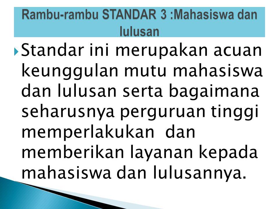 Rambu-rambu STANDAR 3 :Mahasiswa dan lulusan