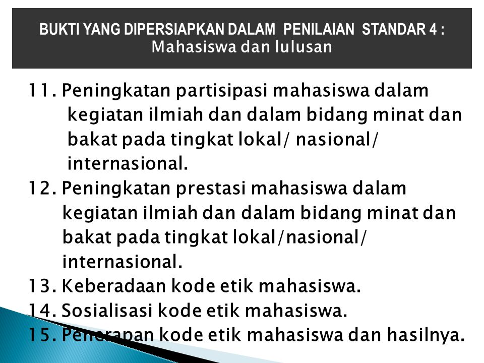 BUKTI YANG DIPERSIAPKAN DALAM PENILAIAN STANDAR 4 :