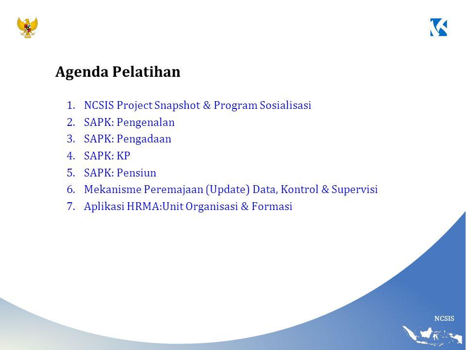 Agenda Pelatihan NCSIS Project Snapshot & Program Sosialisasi