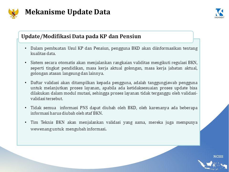 Mekanisme Update Data Update/Modifikasi Data pada KP dan Pensiun
